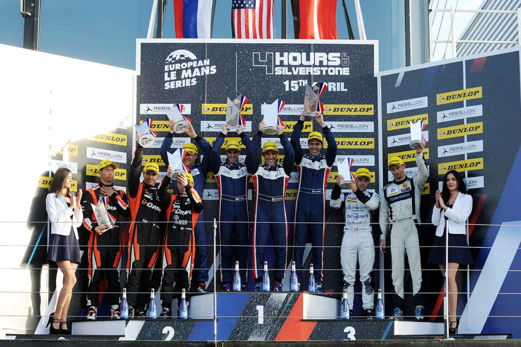Hugo climbs up to the highest step on the podium in Silverstone